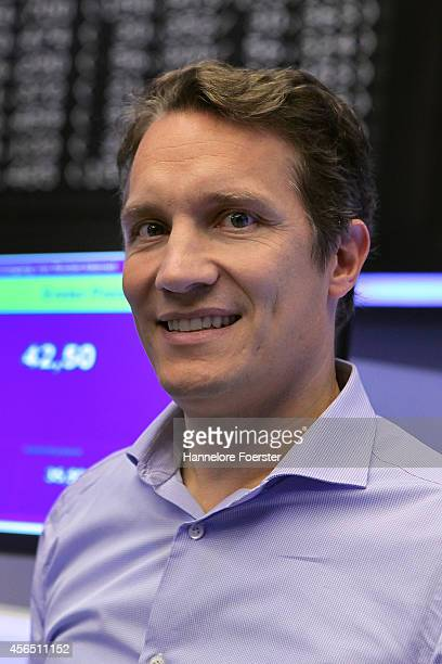 Oliver Samwer CEO of Rocket Internet celebrate the launch of the company's initial public offering of shares on the Frankfurt Stock Exchange on...