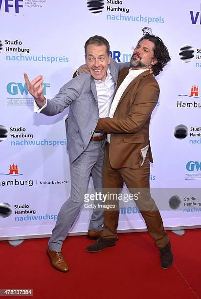Oliver Sauer and Gregory B Waldis attend the Studio Hamburg Nachwuchspreis 2015 at Thalia Theater on June 23 2015 in Hamburg Germany