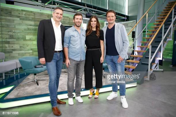 Oliver Schablitzki Marco Hagemann Laura Wontorra and Thomas Wagner during the presentation of the RTL Nitro Season Highlights on July 10 2017 in...