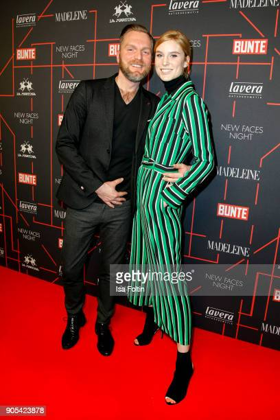 Oliver Schrader and Kim Hnizdo during the Bunte New Faces Night at Grace Hotel Zoo on January 15 2018 in Berlin Germany