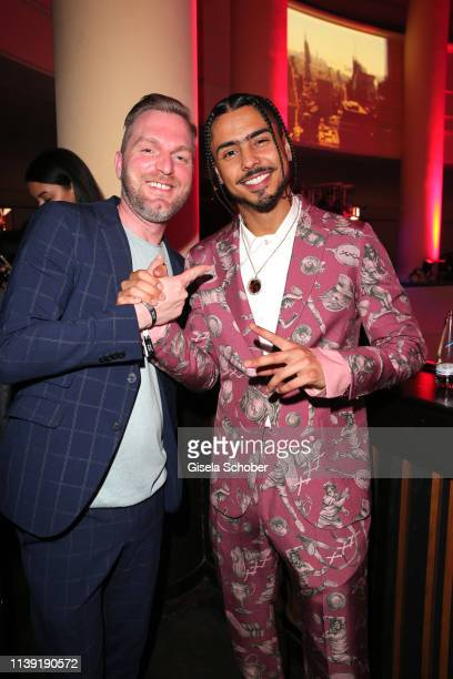 """Oliver Schrader, Hotel Zoo, and Quincy Brown, son of P. Diddy, during the """"To Berlin and Beyond with Montblanc: Reconnect To The World"""" launch event..."""