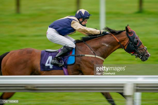 Oliver Searle riding Handytalk win The Sky Sports Racing Sky 415 Veterans' Handicap at Bath Racecourse on August 19 2020 in Bath England Owners are...