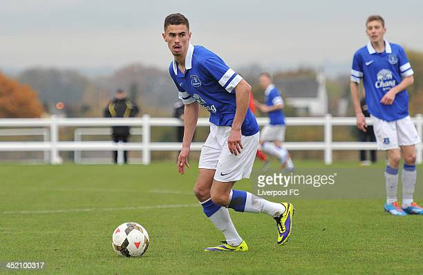 Oliver Shannon of Everton in action during the Barclays Premier League Under 18 fixture between Everton and Liverpool at Everton's Finch Farm...