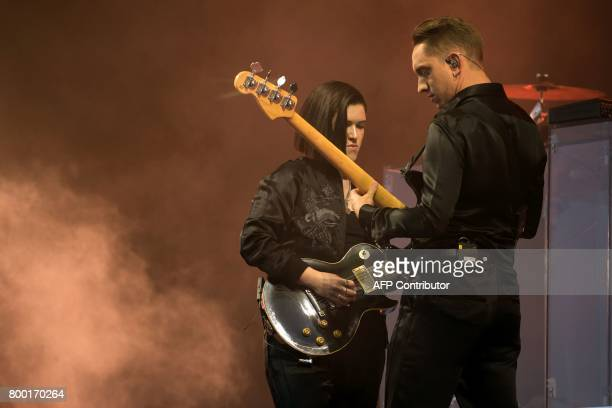 Oliver Sim and Romy Madley Croft of The xx perform on the Pyramid stage at the Glastonbury Festival of Music and Performing Arts on Worthy Farm near...