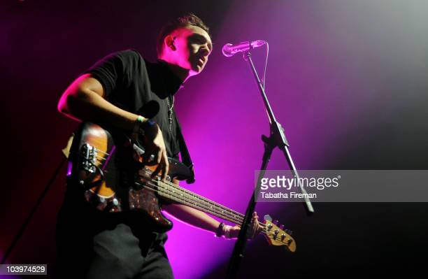 Oliver Sim of Mercury Music Prize winners The xx performs on the Big Top stage during the second day of Bestival at Robin Hill Country Park on...