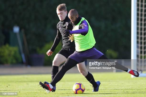 Oliver Skipp and Lucas Moura of Tottenham Hotspur during the Tottenham Hotspur training session at Tottenham Hotspur Training Centre on December 13,...