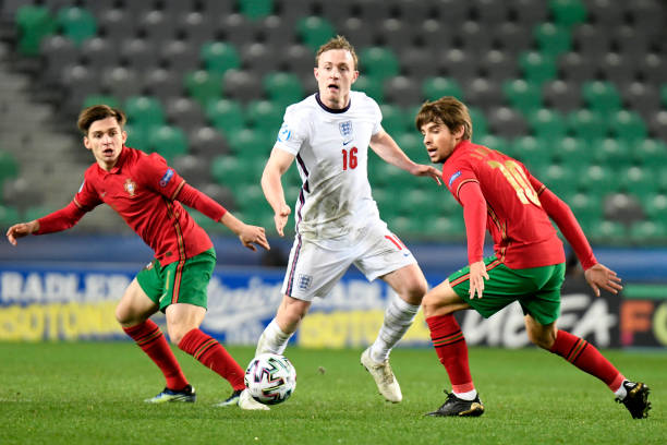 Oliver Skipp of England battles for possession with Daniel Braganca of Portugal during the 2021 UEFA European Under-21 Championship Group D match...