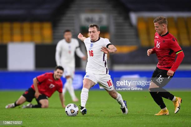 Oliver Skipp of England controls the ball under pressure from Armando Dobra and Enis Cokaj of Albania during the UEFA Euro Under 21 Qualifier match...