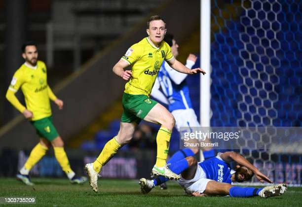 Oliver Skipp of Norwich City celebrates after scoring their side's third goal during the Sky Bet Championship match between Birmingham City and...
