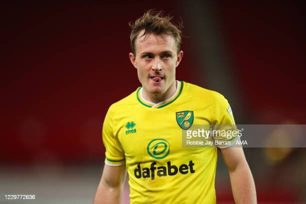 Oliver Skipp of Norwich City during the Sky Bet Championship match between Stoke City and Norwich City at Bet365 Stadium on November 24, 2020 in...