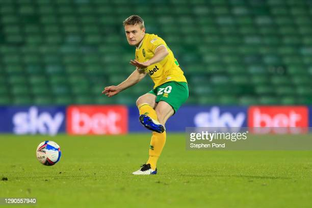 Oliver Skipp of Norwich City during the Sky Bet Championship match between Norwich City and Nottingham Forest at Carrow Road on December 09, 2020 in...