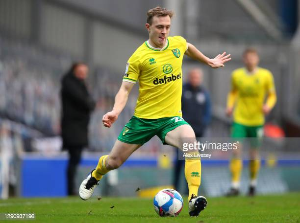 Oliver Skipp of Norwich City during the Sky Bet Championship match between Blackburn Rovers and Norwich City at Ewood Park on December 12, 2020 in...