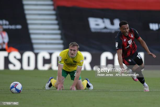 Oliver Skipp of Norwich City fouls Arnaut Danjuma of Bournemouth during the Sky Bet Championship match between AFC Bournemouth and Norwich City at...