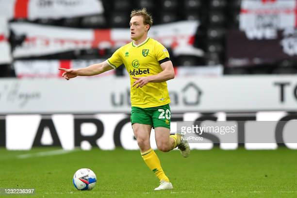 Oliver Skipp of Norwich City gestures during the Sky Bet Championship match between Derby County and Norwich City at the Pride Park, Derby, England...