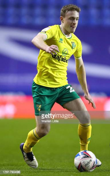 Oliver Skipp of Norwich City runs with the ball during the Sky Bet Championship match between Reading and Norwich City at Madejski Stadium on...