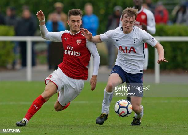 Oliver Skipp of Tottenham Hotspur and Vlad Dragomir of Arsenal during the Premier League 2 game between Tottenham Hotspur and Arsenal on October 23...