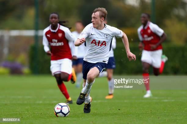 Oliver Skipp of Tottenham Hotspur in action during a Premier League 2 match between Tottenham Hotspur and Arsenal at Tottenham Hotspur training...