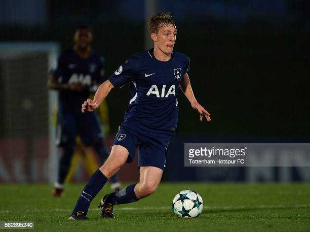 Oliver Skipp of Tottenham Hotspur runs with the ball during the UEFA Youth Champions League group H match between Real Madrid and Tottenham Hotspur...