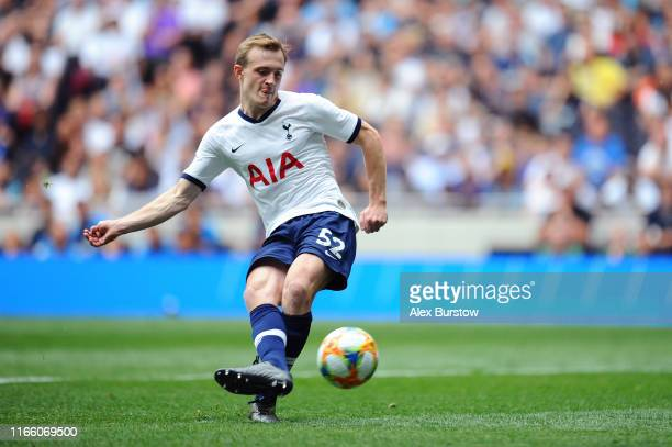 Oliver Skipp of Tottenham Hotspur takes a penalty in the shootout which is then saved during the 2019 International Champions Cup match between...