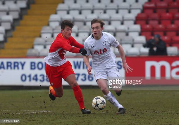 Oliver Skipp of Tottenham Hotspur U19s during UEFA Youth League Round 16 match between Tottenham Hotspur U19s and AS Monaco U19s at Lamex Stadium...