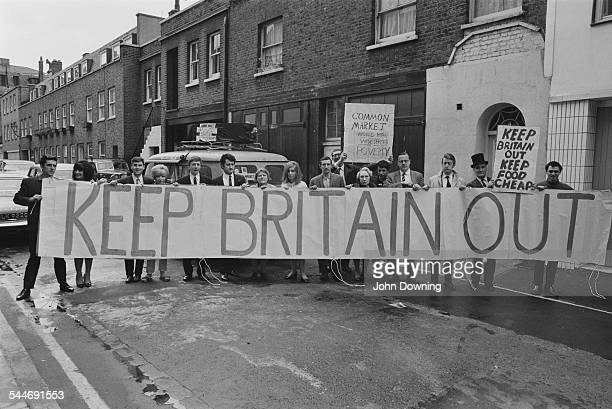 Oliver Smedley and fellow protestors from the Keep Britain Out campaign to oppose British membership of the EEC 1967