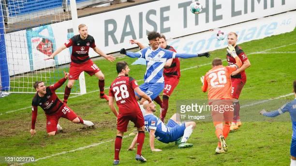 Oliver Sorg of 1. FC Nuernberg, Hanno Behrens of 1. FC Nuernberg, Lukas Muehl of 1. FC Nuernberg, Aaron Seydel of SV Darmstadt 98, Patrick Herrmann...