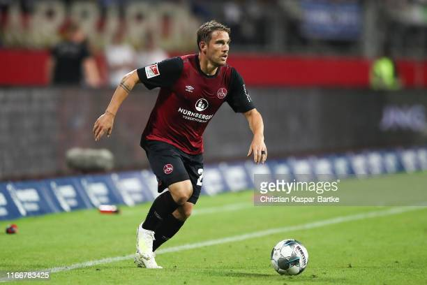 Oliver Sorg of 1FC Nuernberg in action during the Second Bundesliga match between 1 FC Nuernberg and Hamburger SV at MaxMorlockStadion on August 5...