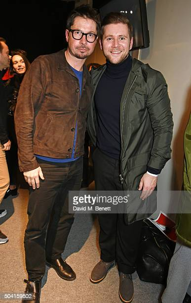 Oliver Spencer and Allen Leech pose backstage following the Oliver Spencer show during London Collections Men AW16 at 180 The Strand on January 9...