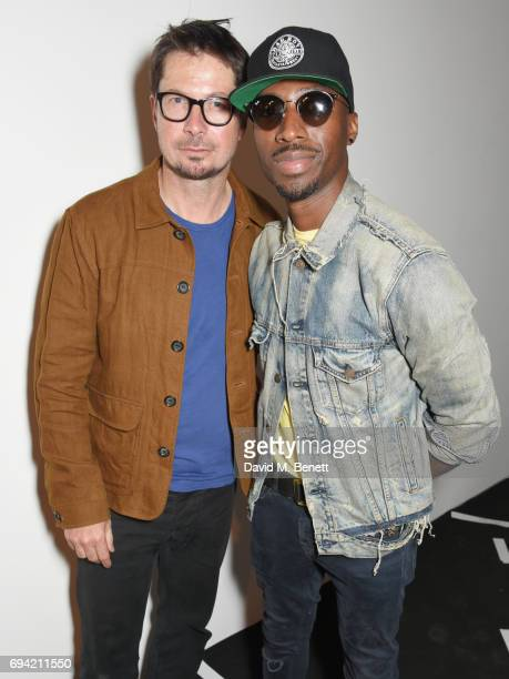 Oliver Spencer and Azuka Ononye pose backstage at the Oliver Spencer SS18 Catwalk Show during London Fashion Week Men's June 2017 on June 9 2017 in...