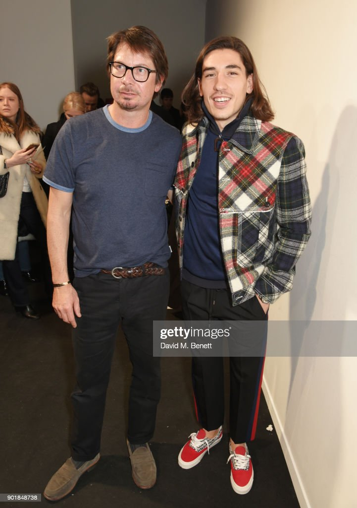 Oliver Spencer (L) and Hector Bellerin attend the Oliver Spencer LFWM AW18 Catwalk Show at the BFC Show Space on January 6, 2018 in London, England.