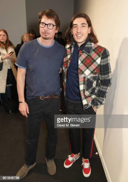Oliver Spencer and Hector Bellerin attend the Oliver Spencer LFWM AW18 Catwalk Show at the BFC Show Space on January 6 2018 in London England