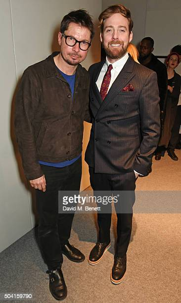 Oliver Spencer and Ricky Wilson pose backstage following the Oliver Spencer show during London Collections Men AW16 at 180 The Strand on January 9...