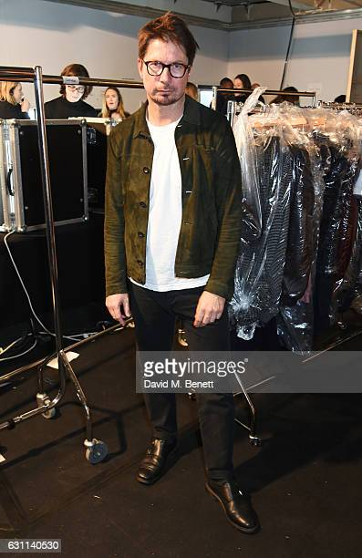 Oliver Spencer poses backstage at the Oliver Spencer AW17 Catwalk Show during London Fashion Week Men's January 2017 at the BFC Show Space on January...