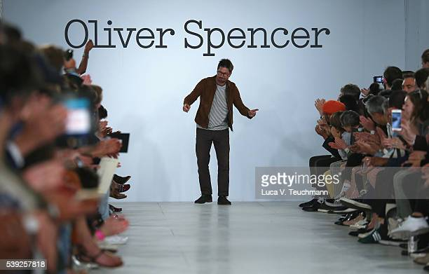 Oliver Spencer walks the runway at his show during The London Collections Men SS17 at BFC Show Space on June 10 2016 in London England