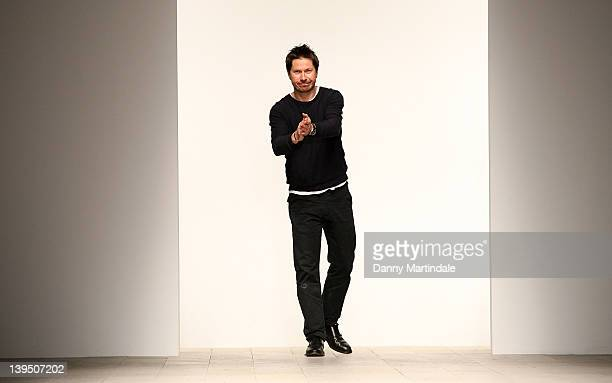 Oliver Spencer walks the runway at the Oliver Spencer Autumn/Winter 2012 show at London Fashion Week at Somerset House on February 22 2012 in London...
