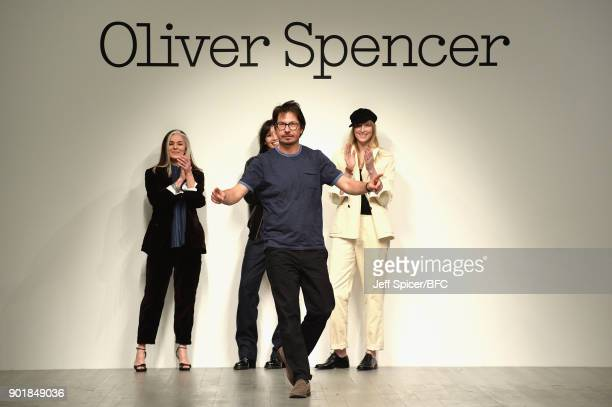 Oliver Spencer walks the runway at the Oliver Spencer show during London Fashion Week Men's January 2018 at BFC Show Space on January 6 2018 in...