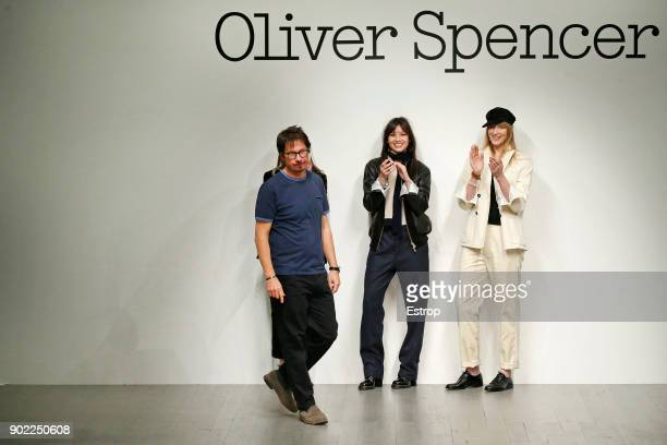 Oliver Spencer walks the runway at the Oliver Spencer show during London Fashion Week Men's January 2018 at BFC Show Space on January 6, 2018 in...