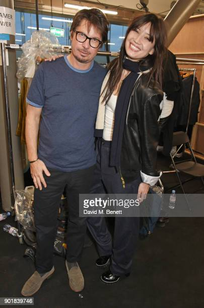 Oliver Spncer and Daisy Lowe attend the Oliver Spencer LFWM AW18 Catwalk Show at the BFC Show Space on January 6 2018 in London England