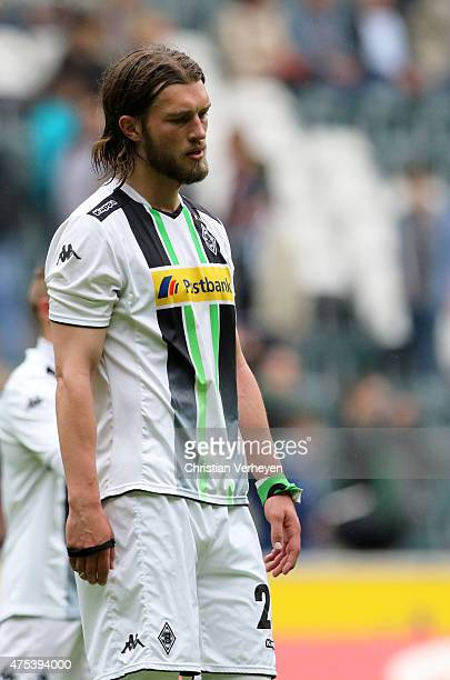 Oliver Stang of Borussia Moenchengladbach looks dejected after the 3 Liga Playoffs match between Borussia Moenchengladbach II and Werder Bremen II at...