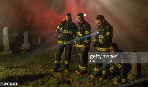 Oliver Stark Peter Krause Ryan Guzman and Kenneth Choi in the Haunted episode of 911 airing Monday Oct 29 on FOX