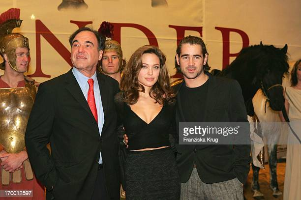 Oliver Stone and Angelina Jolie and Colin Farrell at Film Premiere 'Alexander' In Cinedom in Cologne 171204