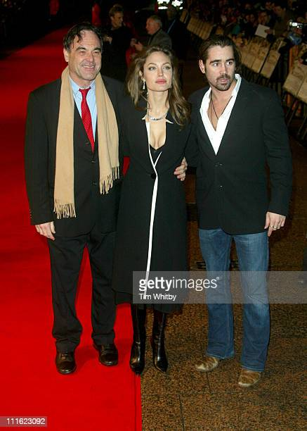 Oliver Stone Angelina Jolie and Colin Farrell during 'Alexander' London Premiere Arrivals at Odeon Leicester Square in London Great Britain