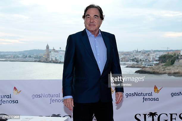 Oliver Stone attends a photocall for his Grand Honorary Award at the 48th Sitges Film Festival on October 11 2015 in Sitges Spain