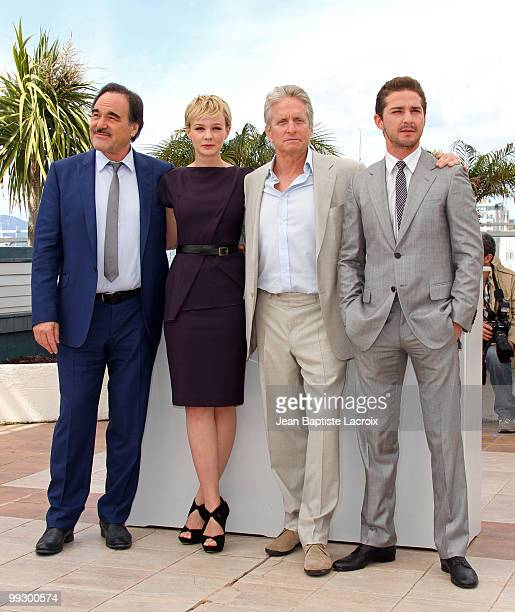 Oliver Stone Carey Mulligan Michael Douglas and Shia LaBeouf attend the 'Wall Street Money Never Sleeps' Photo Call held at the Palais des Festivals...