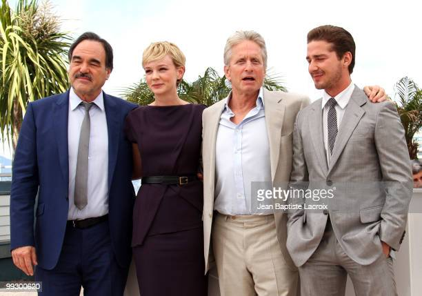 Oliver Stone, Carey Mulligan, Michael Douglas and Shia LaBeouf attend the 'Wall Street: Money Never Sleeps' Photo Call held at the Palais des...