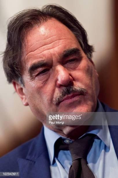 """Oliver Stone discusses his new film """"South of the Border"""" at the National Press Club on June 23, 2010 in Washington, DC."""