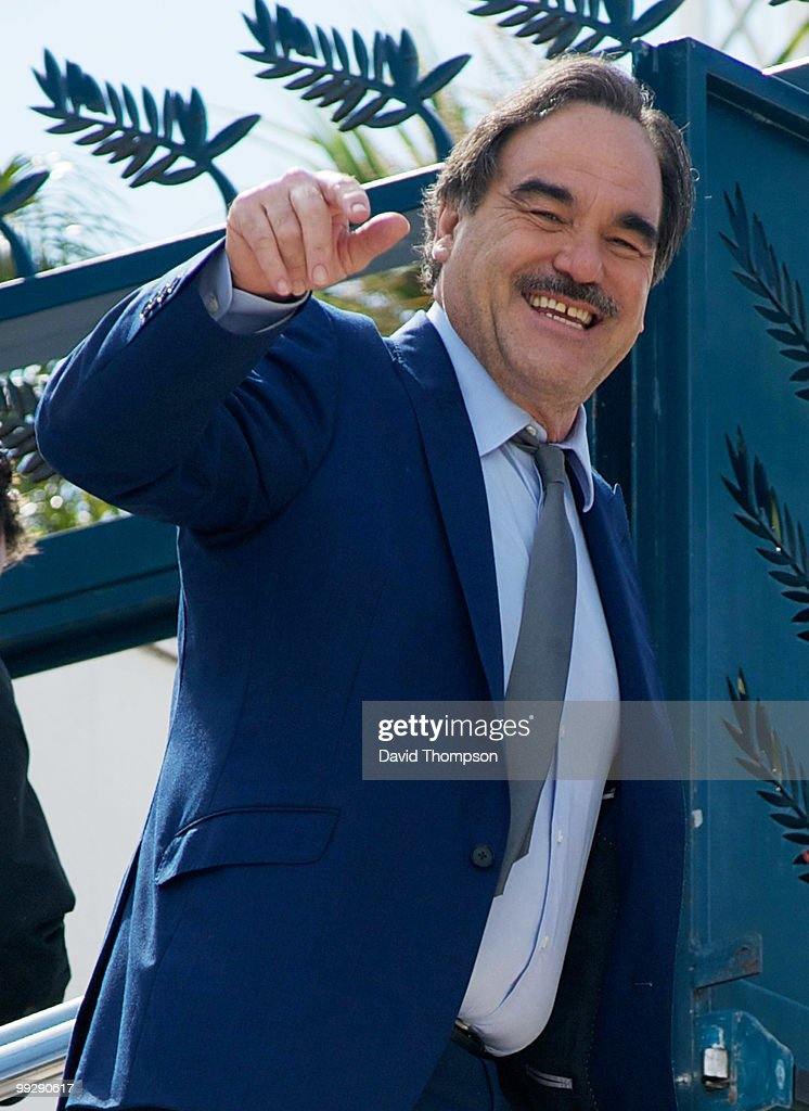Oliver Stone is seen arriving at the Palais de Festivals on May 14, 2010 in Cannes, France.