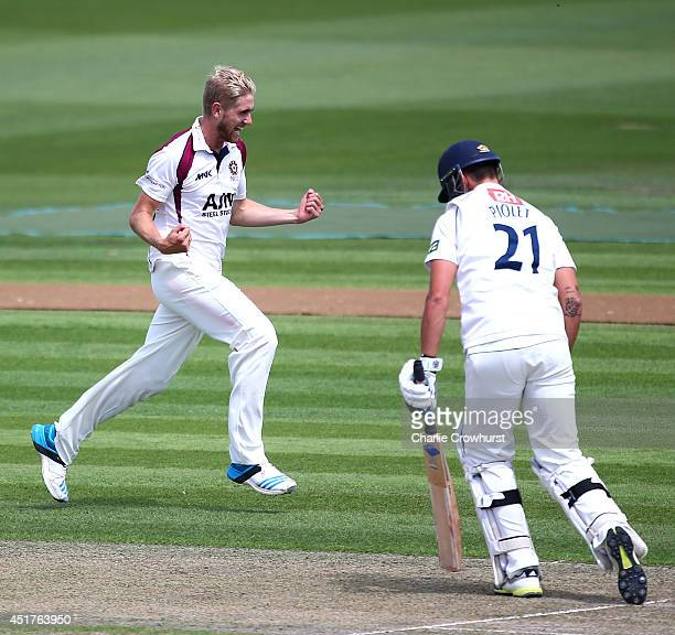 Oliver Stone of Northamptonshire celebrates after claiming the wicket of Steffan Piolet of Sussex during day one of the LV County Championship match...