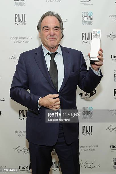 Oliver Stone poses backstage during IFP's 26th Annual Gotham Independent Film Awards at Cipriani Wall Street on November 28 2016 in New York City
