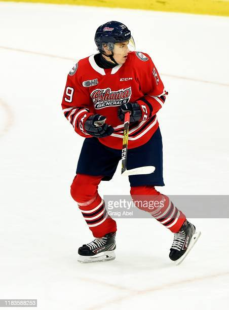 Oliver Suni of the Oshawa Generals skates against the Mississauga Steelheads during game action on October 25 2019 at Paramount Fine Foods Centre in...